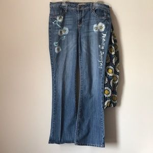 Upcycled Altered Earl Jeans Daisy Pattern Size 12